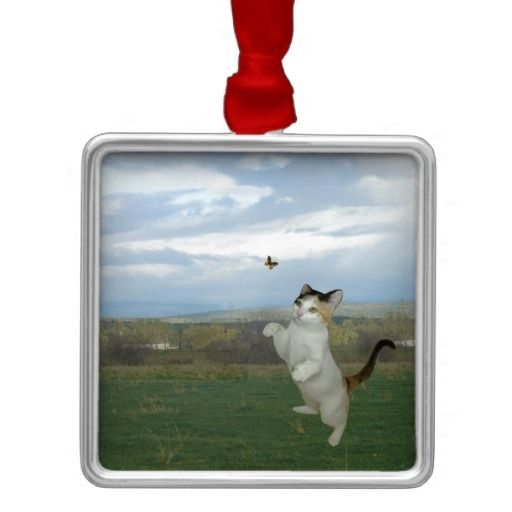 Cat And Butterfly Christmas Ornament