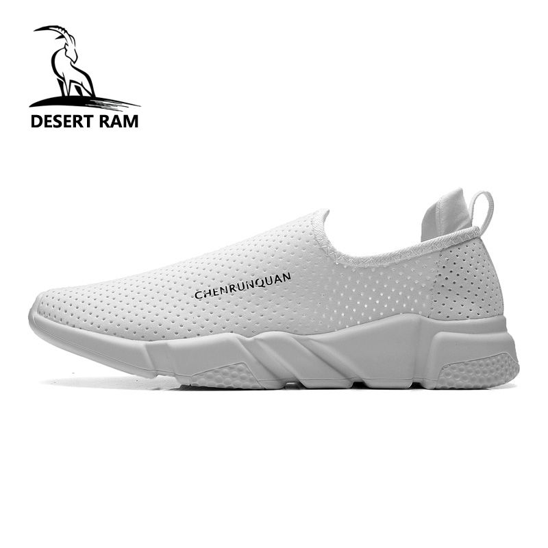 b78b83cfbb DESERT RAM Brand Fashion Shoes Men Casual Lovers Loafers Leather Sneakers  Summer Mesh Black White Canvas Slip On Boat Mens Shoe