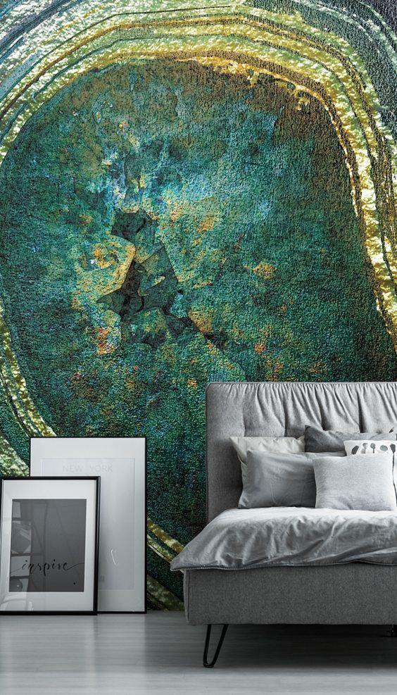 Emerald Gold Agate Mural by Lara Skinner Wallsauce AU in