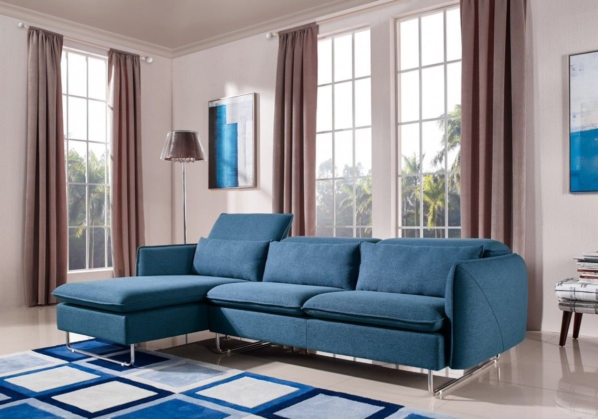 Divano blu ~ Divani casa aleida modern blue fabric sectional sofa vgmb blu