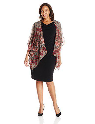 5fe6d2f492 Fashion Bug Womens Plus Size Kimono Jacket with Sheath Dress  www.fashionbug.us  plussize 1X 2X 3X 4X 5X 6X
