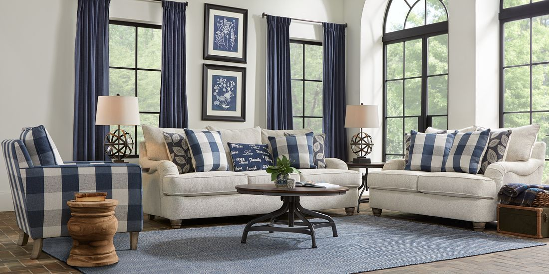 Stonehill Beige 2 Pc Living Room Blue And White Living Room Condo Living Room Family Room Furniture