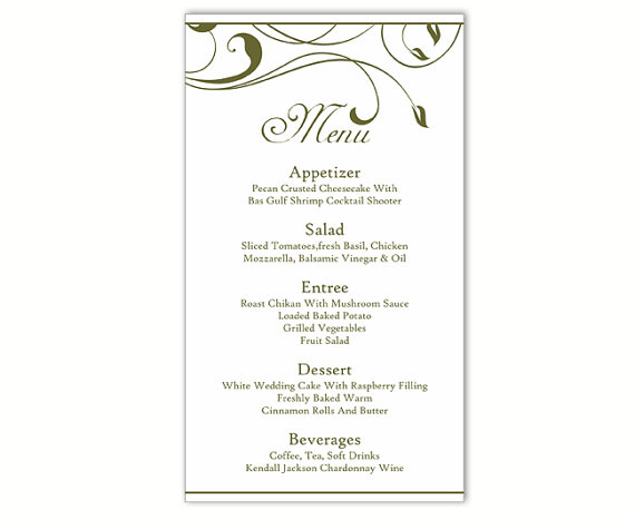Wedding Menu Template DIY Menu Card Template Editable Text Word - menu template for word