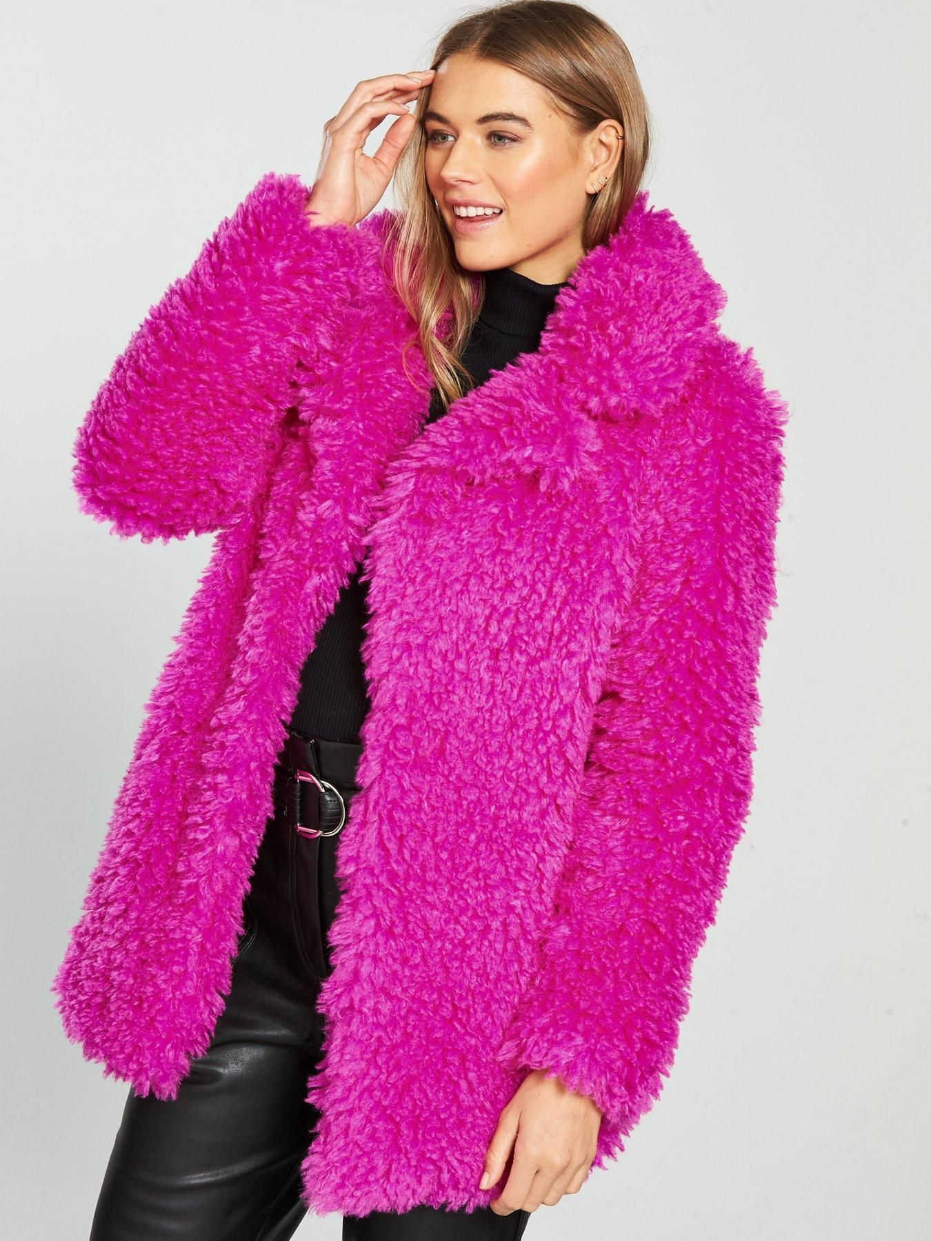 602abc19822 V by Very Teddy Faux Fur Coat - Bright Pink | littlewoodsireland.ie