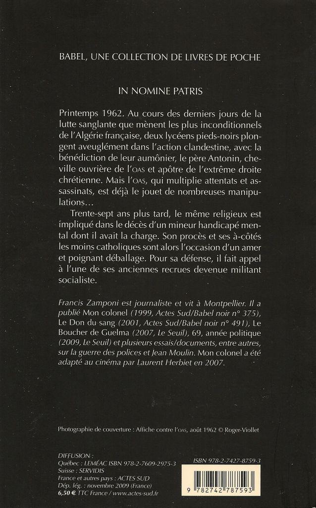 Babel Noir - 2009-11 Francis Zamponi - In Nomine Patris (Nouvelle Édition) - Verso