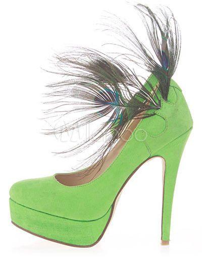 Fascinantes chaussures à talons hauts aigus en tissu de terry vert avec  plume - Milanoo.