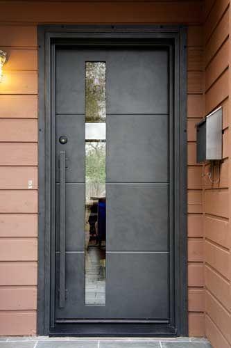 contemporary door m100a with m10 pull handles steel grey finish portella - Modern Exterior Metal Doors
