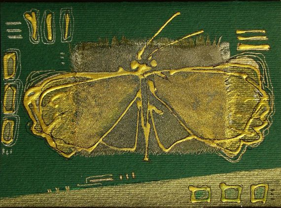 Golden Butterfly On The Emerald Green Background By Vlada19 700