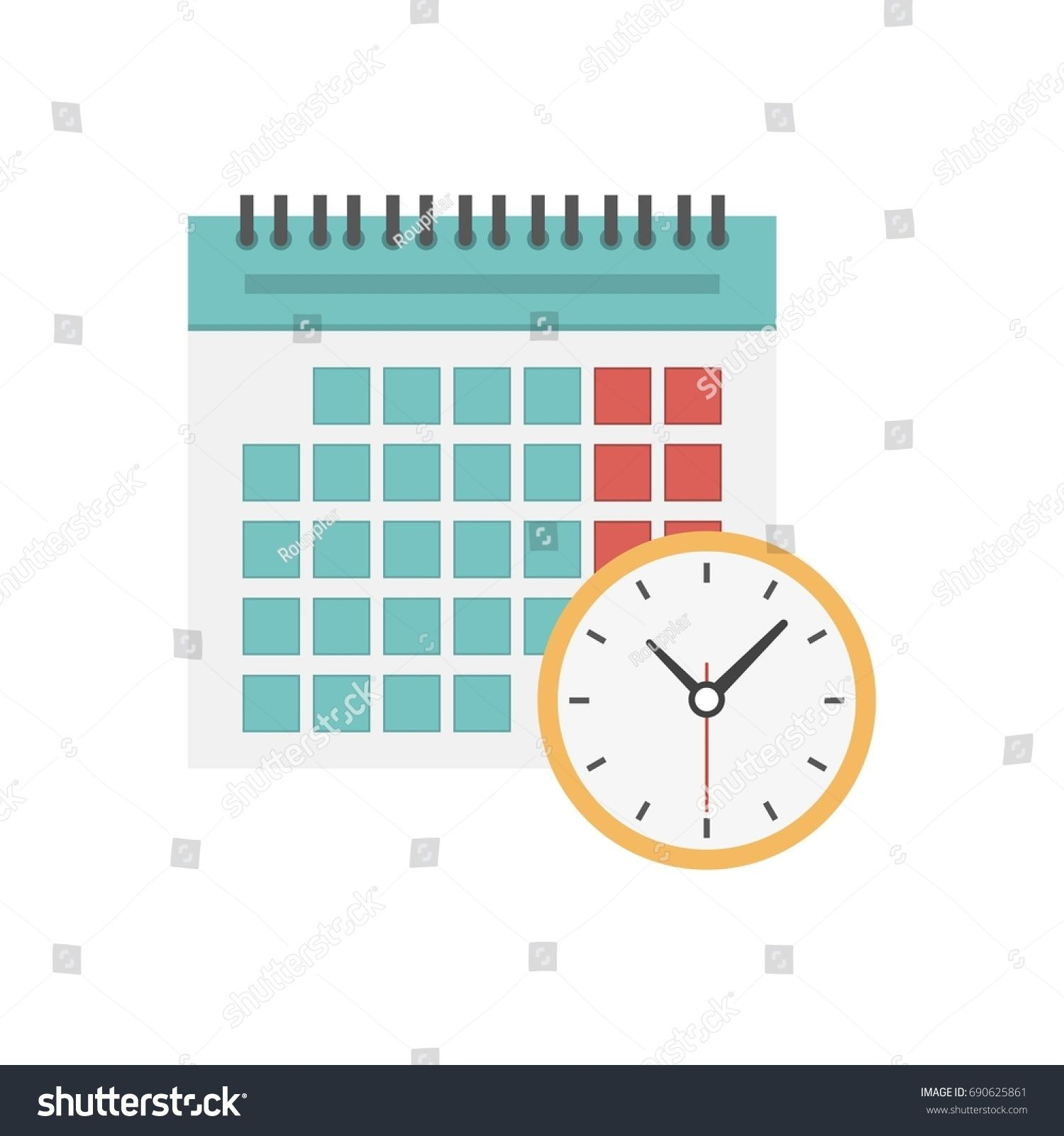 Calendar And Clock Icon Schedule Appointment Important Date