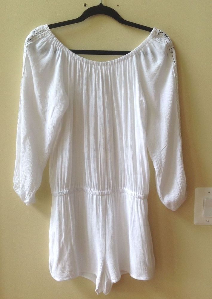 e192073642fe NWT ELAN WHITE OFF THE SHOULDER 100% RAYON LONG SLEEVE ROMPER COVER UP SIZE  L
