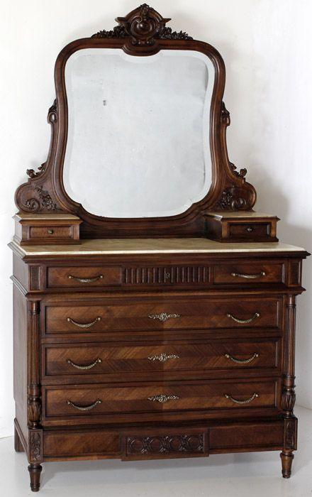 Antique French Louis Xvi Walnut Dresser With Mirror