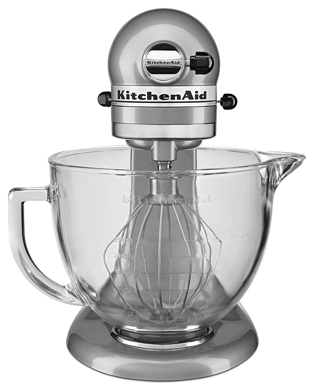 Headon look at the metallic chrome kitchenaid mixer