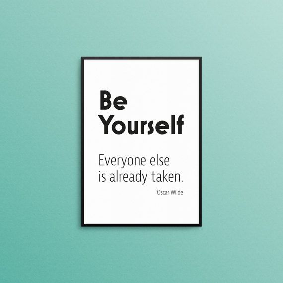 Be yourself quote inspirational quote print motivational quote print black white digital download pdf file printable wall art wall sign