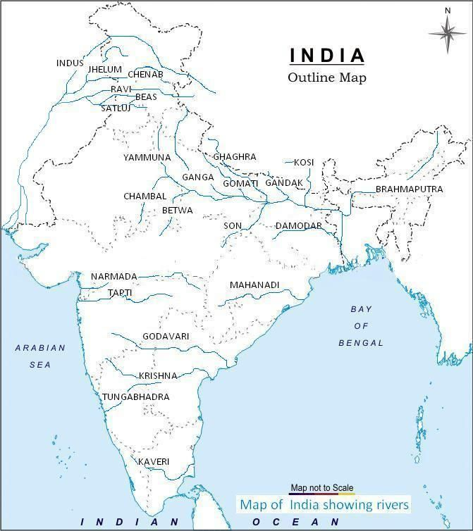 Indian Rivers Map map of india with rivers | Map of India With States in 2019  Indian Rivers Map