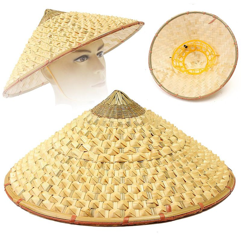 4ee9d1a19 Oriental Vietnamese Chinese Asian Straw Cone Shaped Fishing Sun Rice Bamboo  Hat