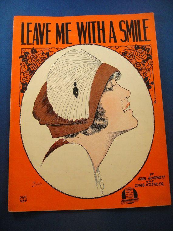 Art Deco Pretty Girl Sheet Music Leave Me by WishingWellsGlass, $15.00