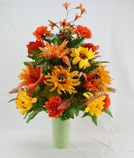 No 5024 Fall Cemetery Arrangement Autumn Cone Flower Cone Arrangement Grave Tombstone Cemetery Flowers Flower Vase Arrangements Fall Flower Arrangements