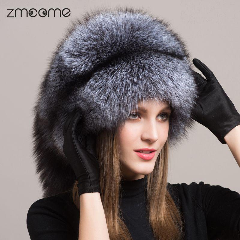 Cheap Manera de Las Mujeres de Piel de Zorro Sombrero Ruso de piel de Zorro  Auténtico Genuino Proteger Orejeras Cálido Sombrero Gorros Gorras Sombreros  Para ... a553ef125aa