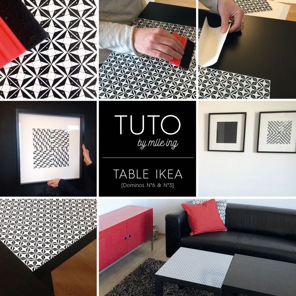 adh sif diy tuto domino by mlle ing table carr e ikea table dominot e avec dominos n 6. Black Bedroom Furniture Sets. Home Design Ideas