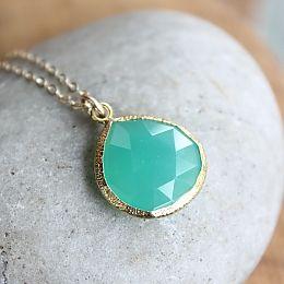 Gold Green Chrysoprase Necklace Long Bib Necklace Statement Necklace