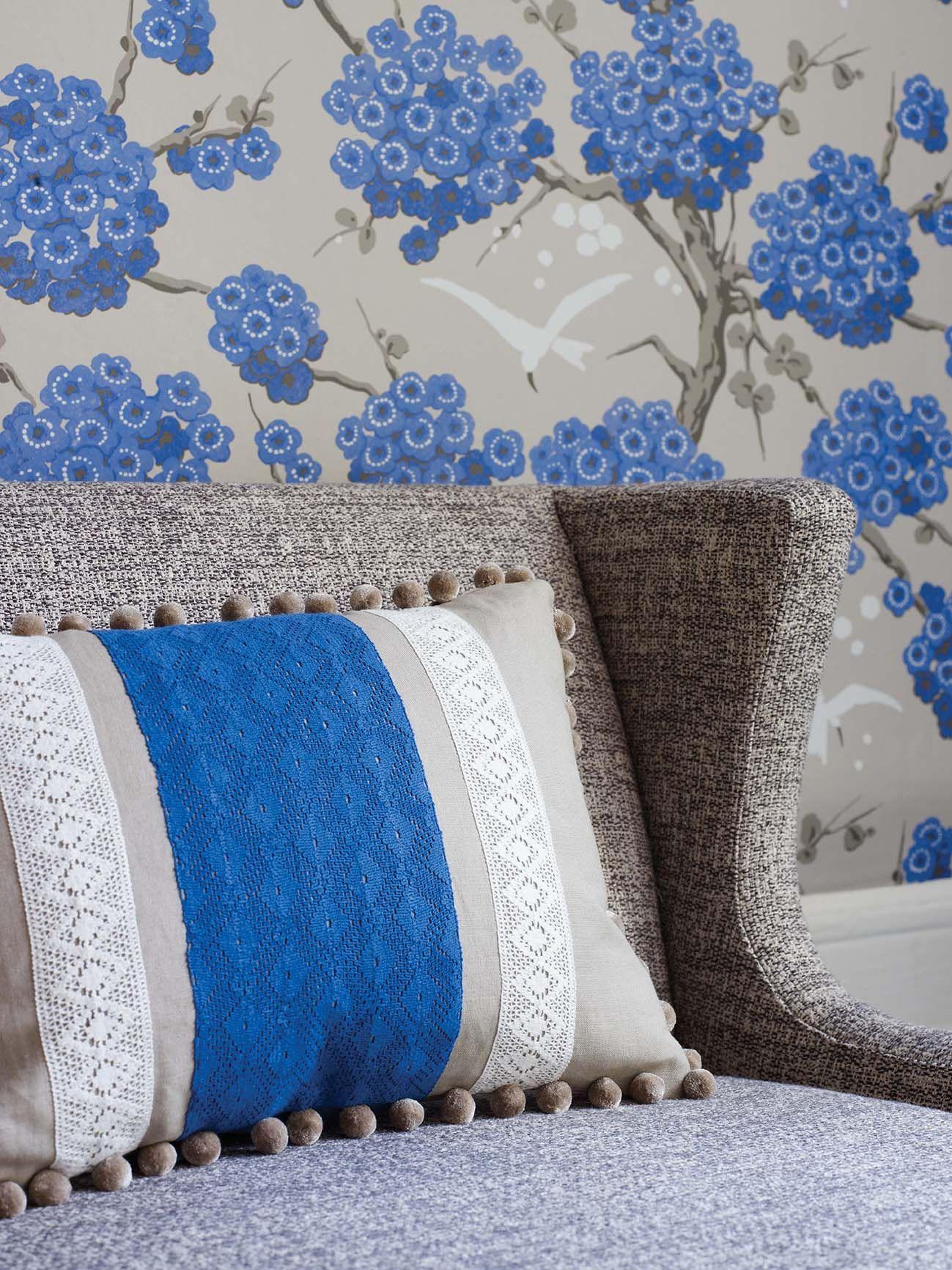 Chantilly Stripe fabric & Japonerie wallpaper by Osborne