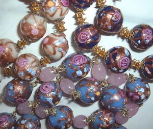 Vintage-Venetian-Wedding-Cake-Bead-Necklace-Lot-Periwinkle-Cobalt-White