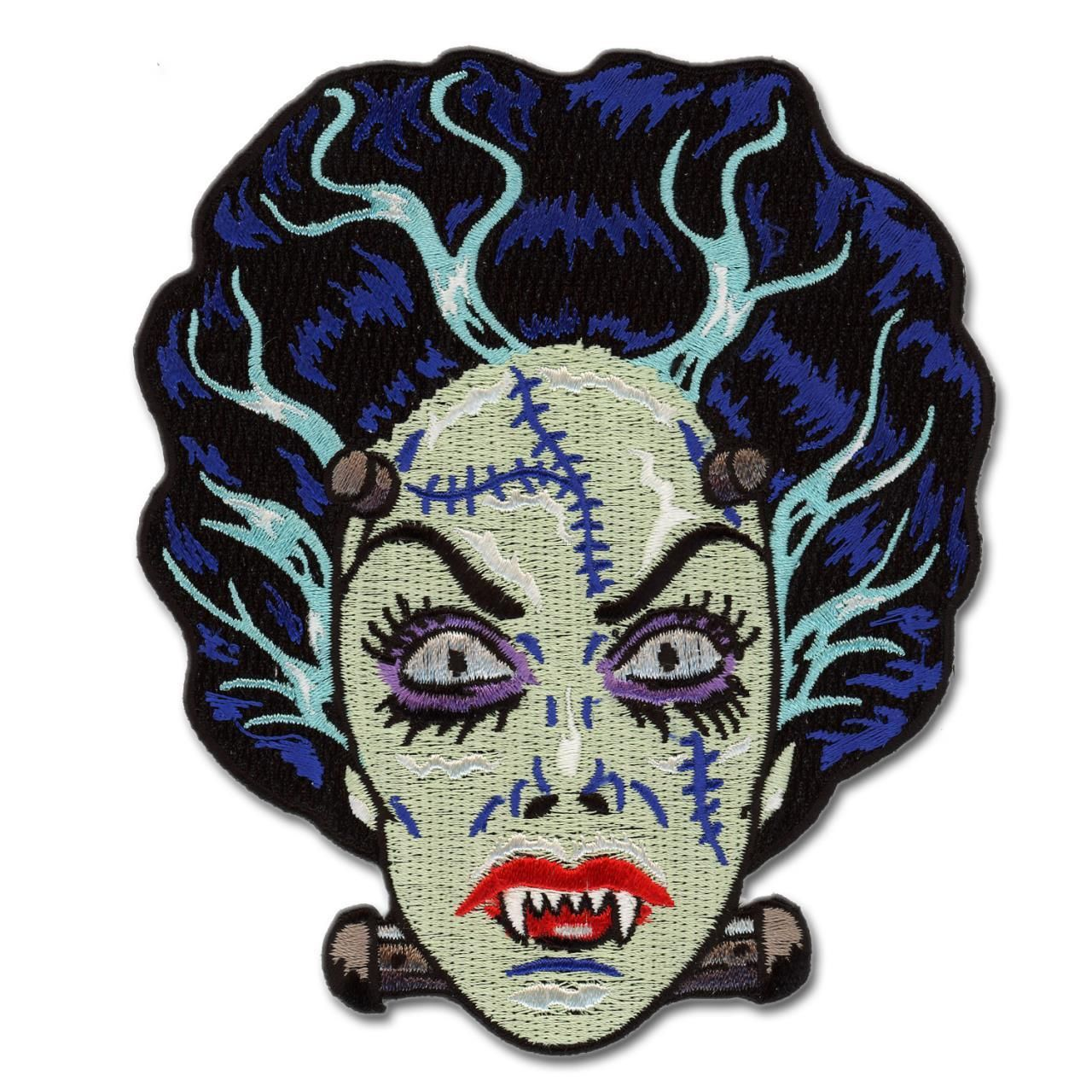 FISH FACE FREAK PATCH EMBROIDERED SEW ON IRON ON PATCH BY RETRO-A-GO-GO