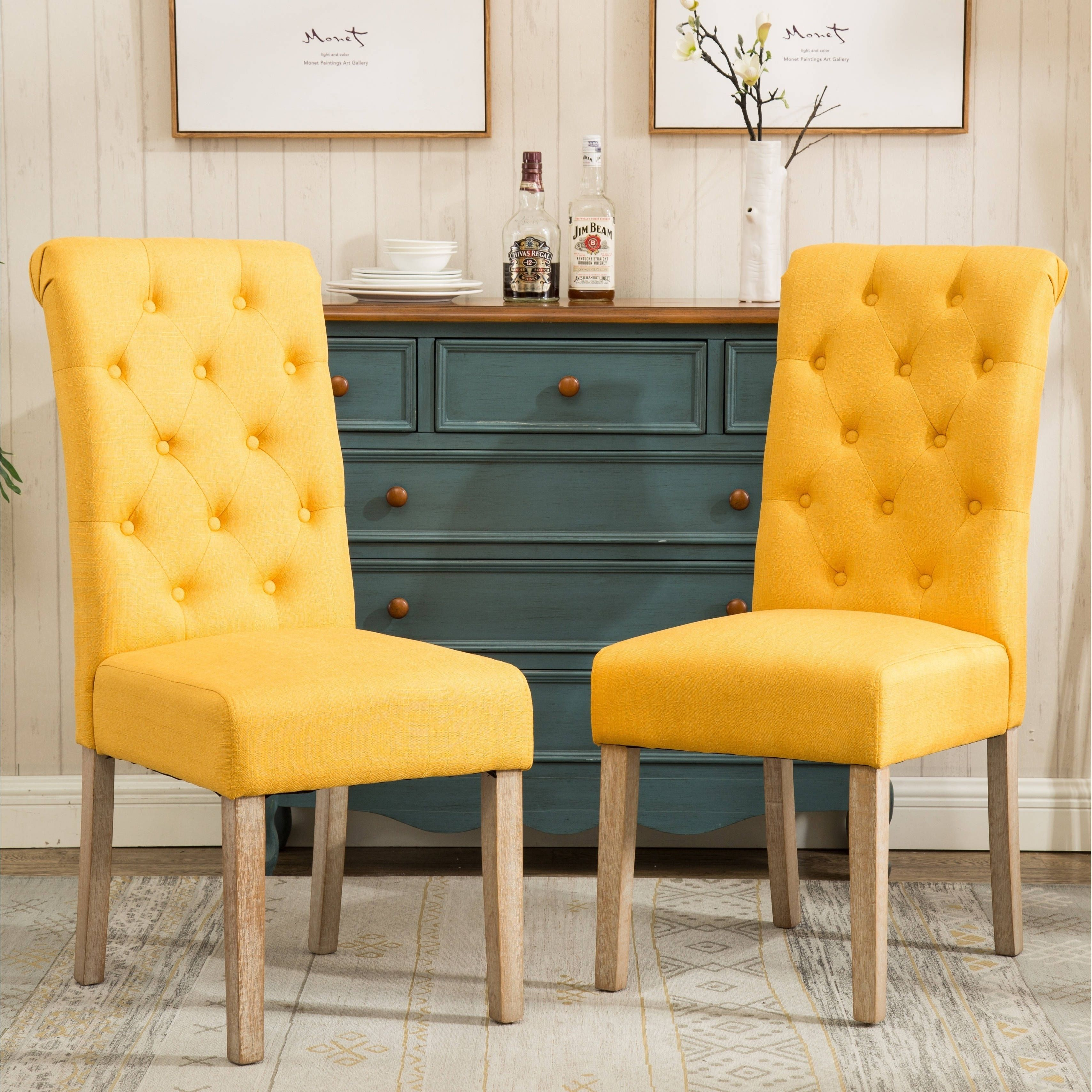 habit solid wood tufted parsons dining chairs set of 2 yellow fabric - Parsons Dining Chairs