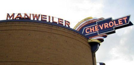 Historic Neon Chevrolet Sign At Manweiler Chevrolet In