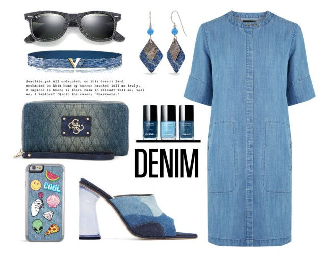 """""""Jeanious Accessories"""" by louise-frierson ❤ liked on Polyvore featuring Warehouse, GUESS, Raven Denim, Silver Forest and Ray-Ban"""