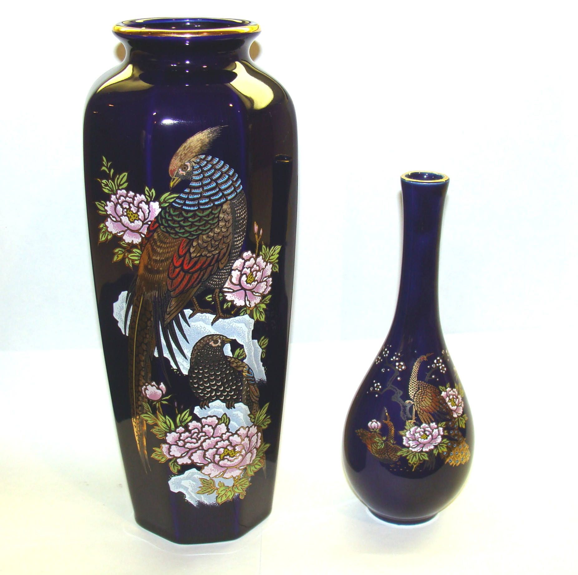 Vintage Oriental Vases Old Japanese Vase Lot Gorgeous Asian Bird