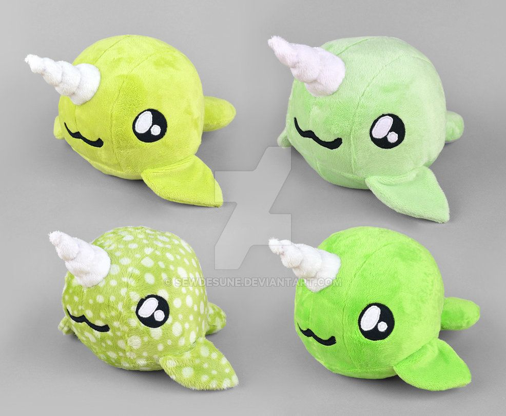 Green Narwhal Plush Collection by SewDesuNe on DeviantArt