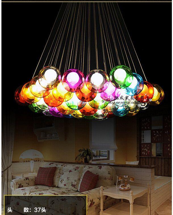 Diy bunten kristallglas pendelleuchte kreatives Design - leuchten fürs wohnzimmer