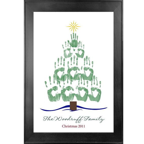 Nice Christmas Crafts For Family Part - 10: Holiday Handprint Tree 16 X 24 - Family Art Tree - Children Art