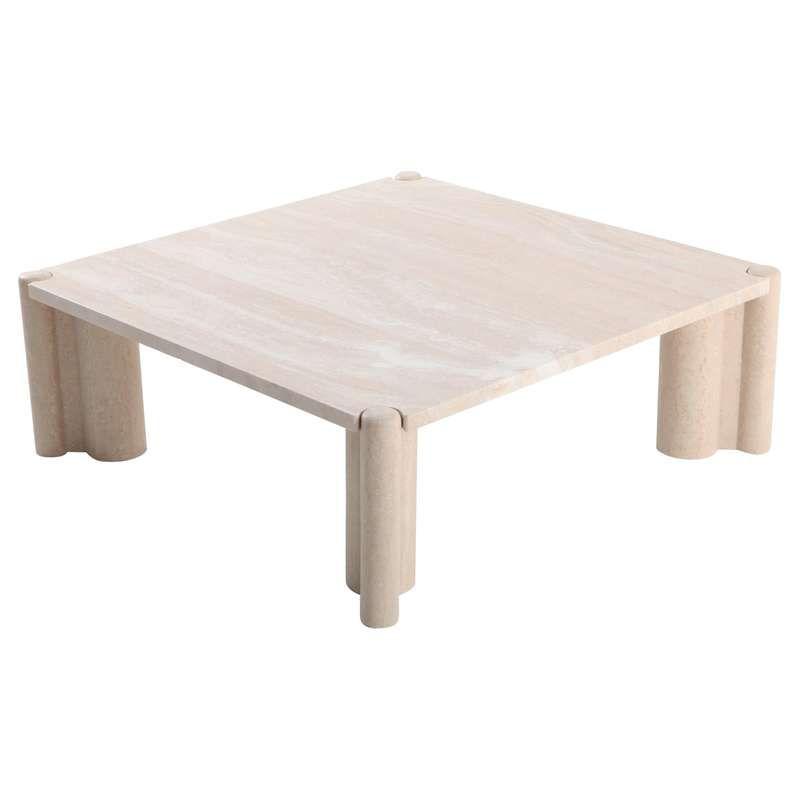 Gae aulenti jumbo travertine square coffee table for sale
