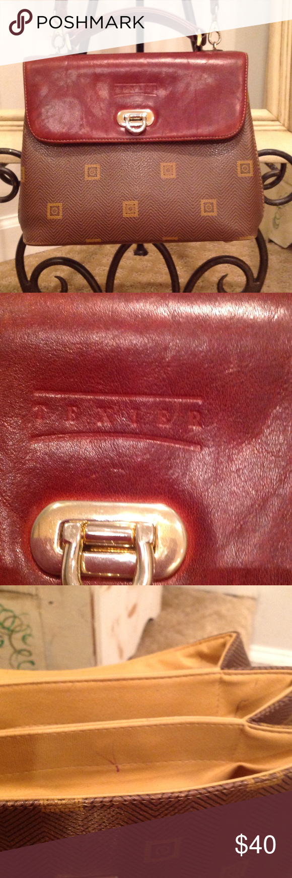 Texier Handbag Made In France Brown Satchel With Removable Shoulder Stap Nail Heads