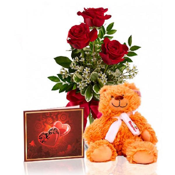 1 2 Price Roses Teddy And Card Special 3 Plump Long Stem Red Roses A Cuddly Teddy Bear And A Personalize Congratulations Flowers Flower Delivery Uk