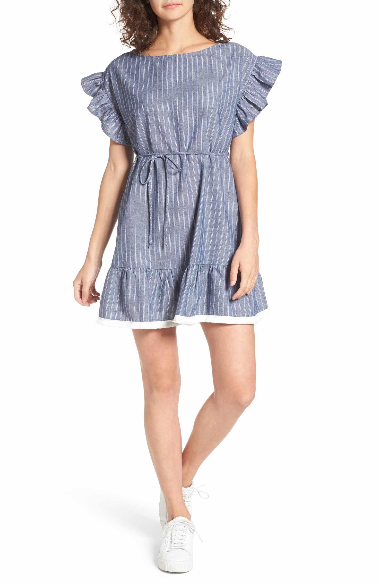 c82d11f281 Main Image - BP. Ruffle Trim Stripe Cotton Shift Dress