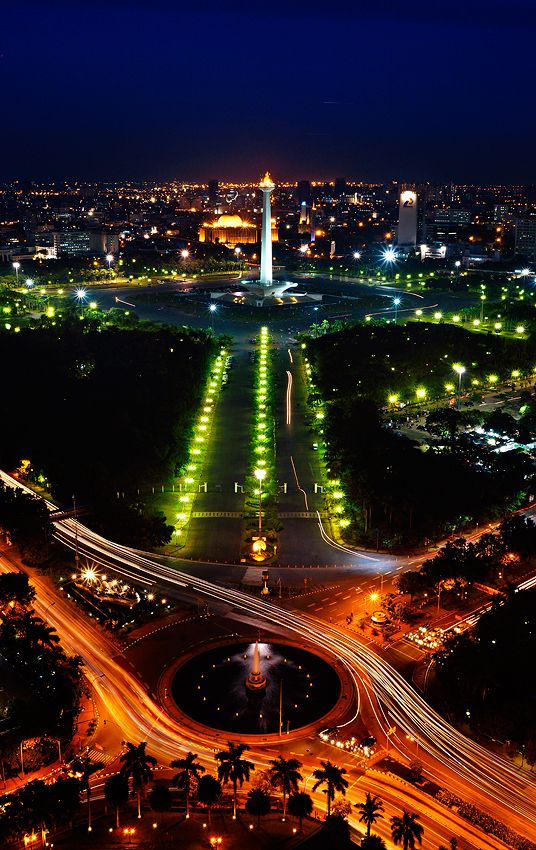 Jakarta, the capital & largest city of Indonesia; located on northwest coast of Java. It is center of government, commerce, & industry & extensive communications w/ outside world; principal gateway to rest of Indonesia. The Selamat Datang monument stands on the fountain in the center of Hotel Indonesia Roundabout. Suffers congestion due to heavy traffic in central business district.