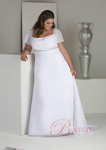 Wedding Dresses For Plus Size | Column Scoop Neck Satin Discount ...