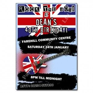 90s Britpop Rock Invitation Britpop and Rock