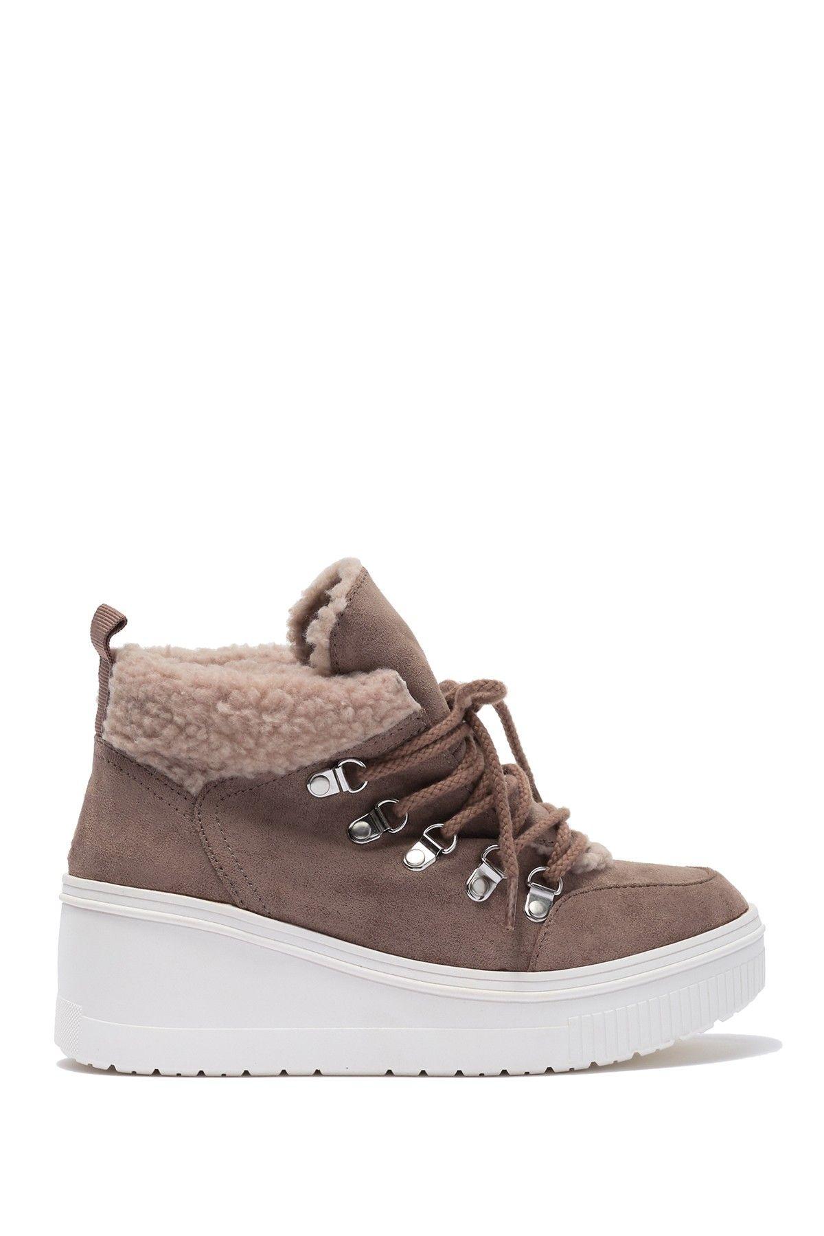 Teerra Faux Fur Lined Wedge Sneaker