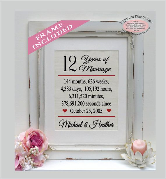 Framed 12th Anniversary Gift 12 Years Married 12 Year Etsy In 2020 12th Anniversary Gifts 12th Anniversary Anniversary Gifts