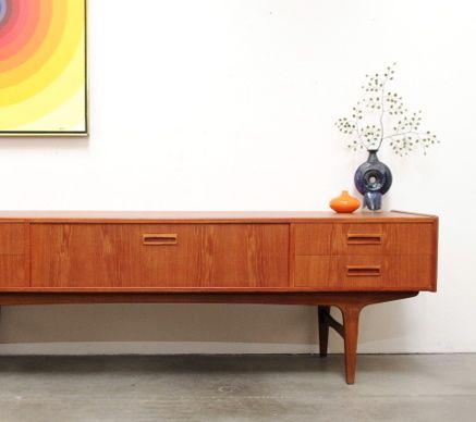 1960s vintage danish modern teak credenza sideboard mid century - Modern Credenza