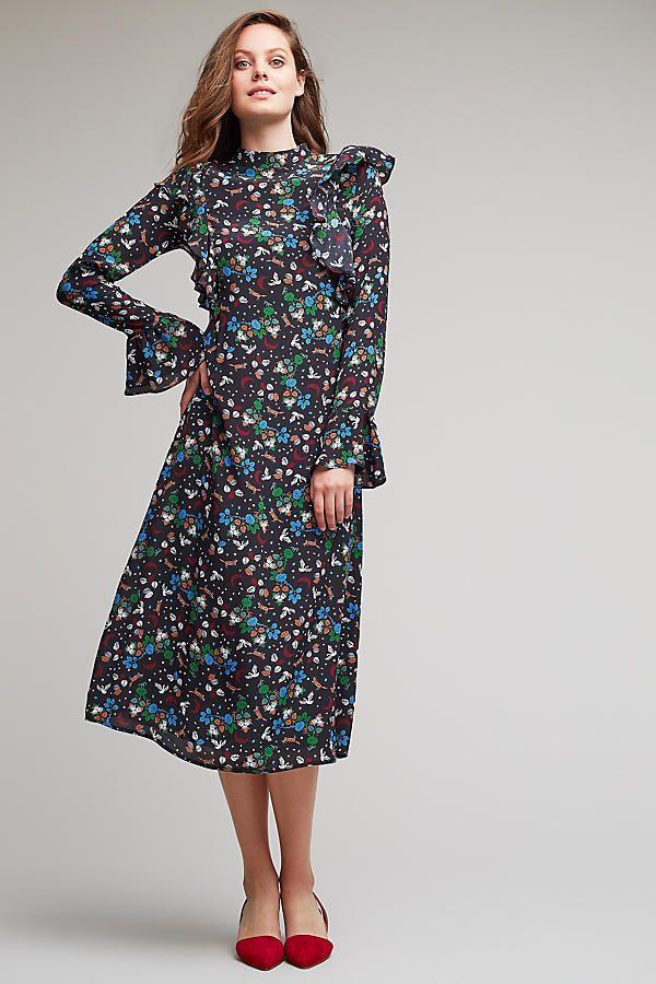 robe mi-longue imprimée en soie lydia | dresses, printed