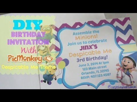 DIY Birthday Invitation With PicMonkey Despicable Me Theme