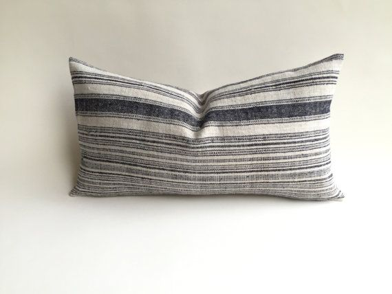 16X26 Pillow Insert Impressive One Woven Hemp Beige And Indigo Hmong Bohemian Stripe Zipper Pillow Decorating Design
