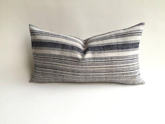 One Woven Hemp Beige And Indigo Hmong Bohemian Stripe Zipper Pillow Adorable 12 X 21 Pillow Insert