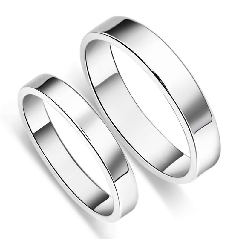 Pure Band S925 Sterling Silver Couples Promise Bands Silver