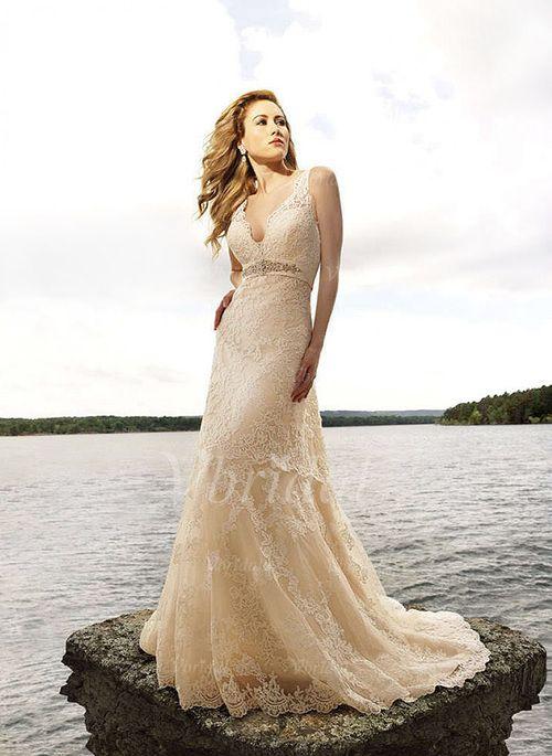 Wedding Dresses - $231.63 - A-Line/Princess V-neck Chapel Train Lace ...